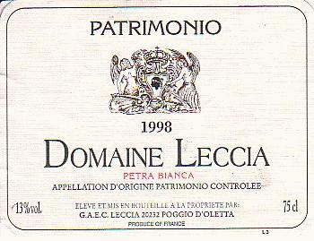 photo Domaine Leccia Patrimonio Petra Bianca